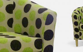 green spotted tub chairs