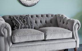 plush grey sofa
