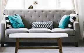 sofa with blue cushions