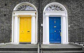yellow door and blue door