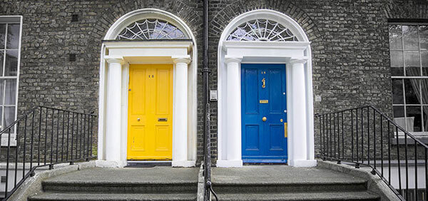 Front doors in vibrant colours