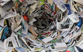 hundreds of books and magazines in a cluttered spiral