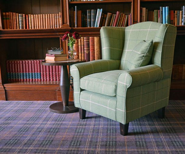 green tartan wingback chair