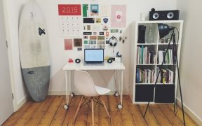 living space with chair, desk and bookcase