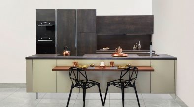 two stylish black chairs at a kitchen counter
