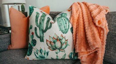 cactus pillow on grey sofa with orange blanket