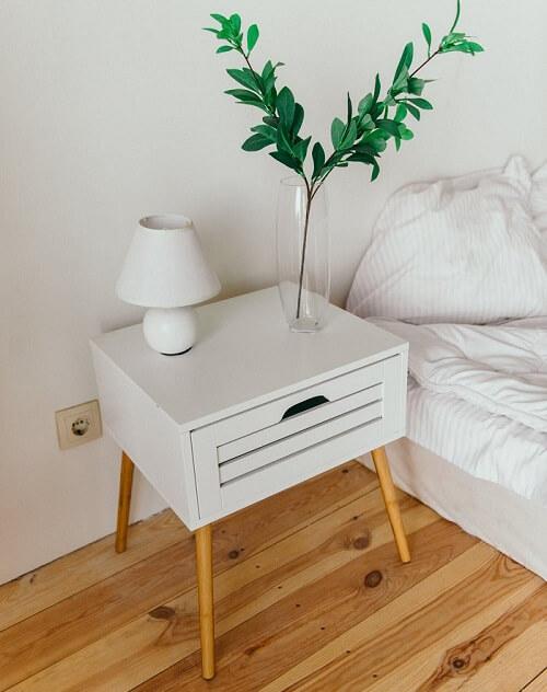 oversized white nightstand