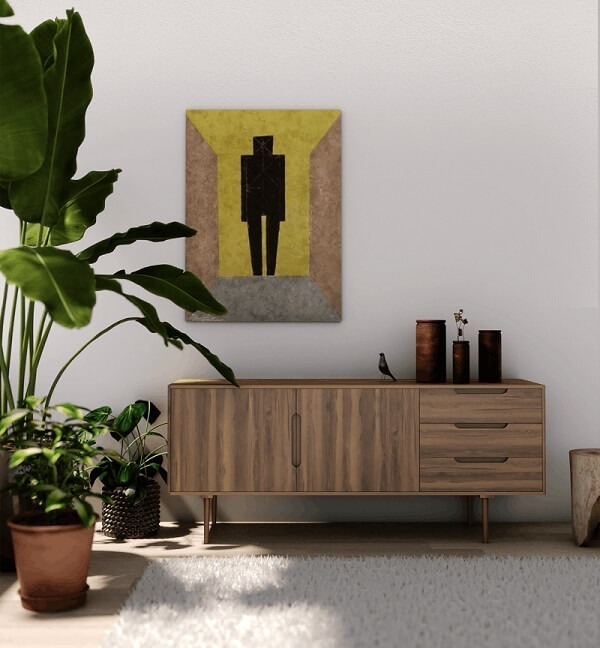 Modern living room with sideboard and painting