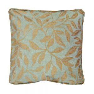 Adelphi duck egg blue scatter cushion with brown leaf design