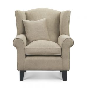 beige wingback chair