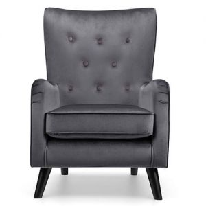 Fransen grey velvet accent chair