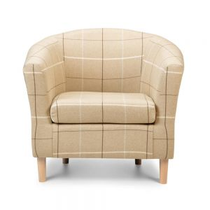 Morris Beige Tartan Fabric Tub Chair