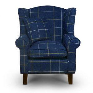 Morris Blue Tartan Fabric Wingback Chair