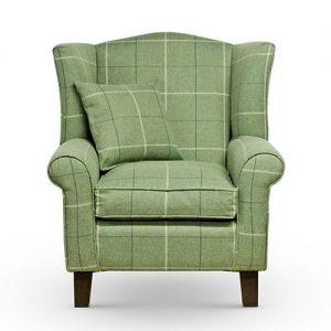 green tartan wingback chair