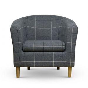 Morris Grey Tartan Tub Chair Front