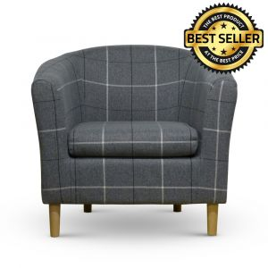 Morris Grey Tartan Tub Chair Front