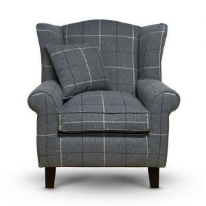 grey tartan wingback armchair