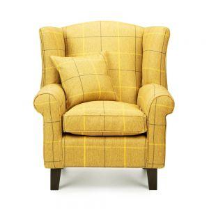 Mustard Yellow Tartan Wingback Chair