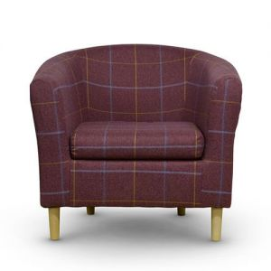 Morris Red Tartan Tub Chair Front
