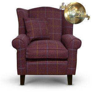 red tartan fabric wingback chair
