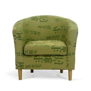 Green Fabric Tub Chairs Front