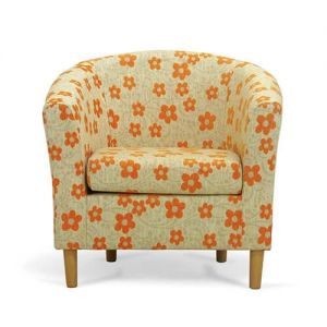 Orange Floral Tub Chair Front
