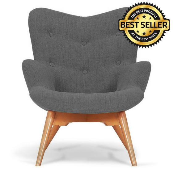 Silver Fabric Angel Accent Chair