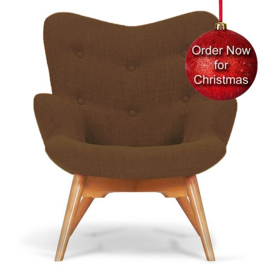 Brown Fabric Angel Accent Chair