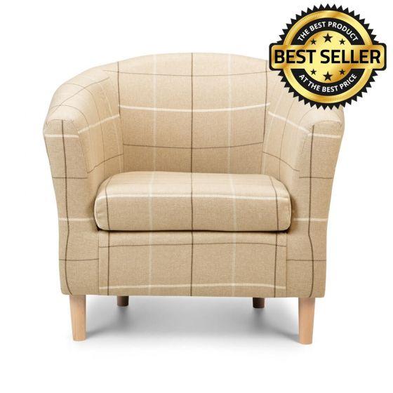 Morris Beige Tartan Fabric Tub Chair