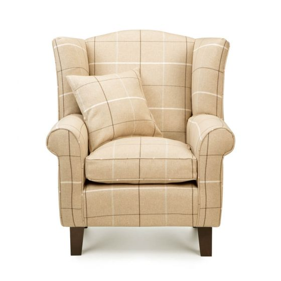 Beige Morris Tartan Wingback Chair