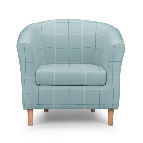 Morris Duck Egg Tartan Tub Chair