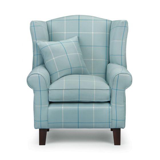 Morris Duck Egg Tartan Fabric Wingback Chair