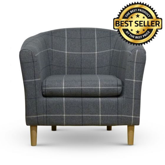 Morris Grey Tartan Fabric Tub Chair