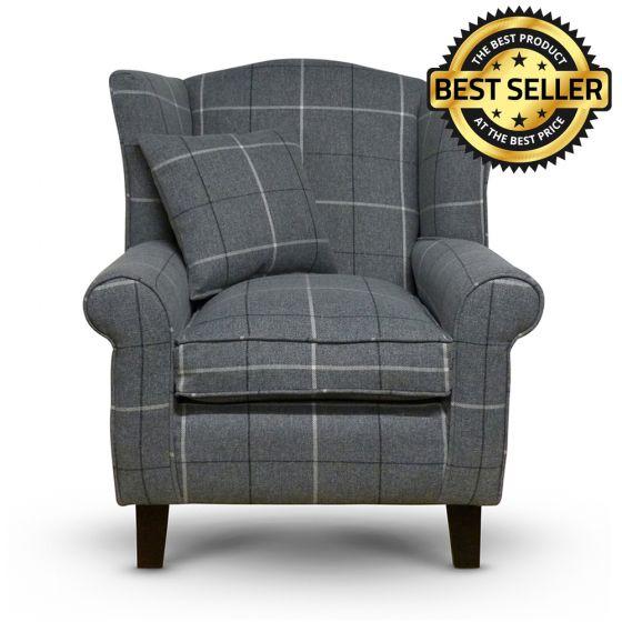 Morris Grey Tartan Fabric Wingback Chair