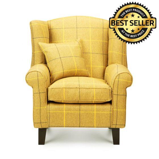 Morris Mustard Tartan Fabric Wingback Chair