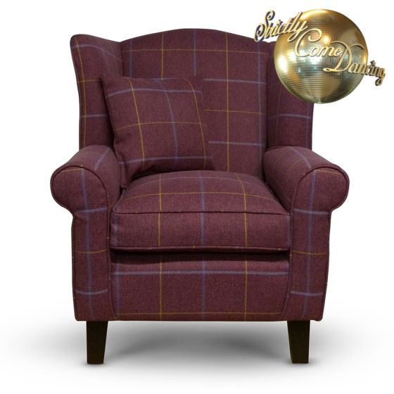 red tartan fabric wingback chair