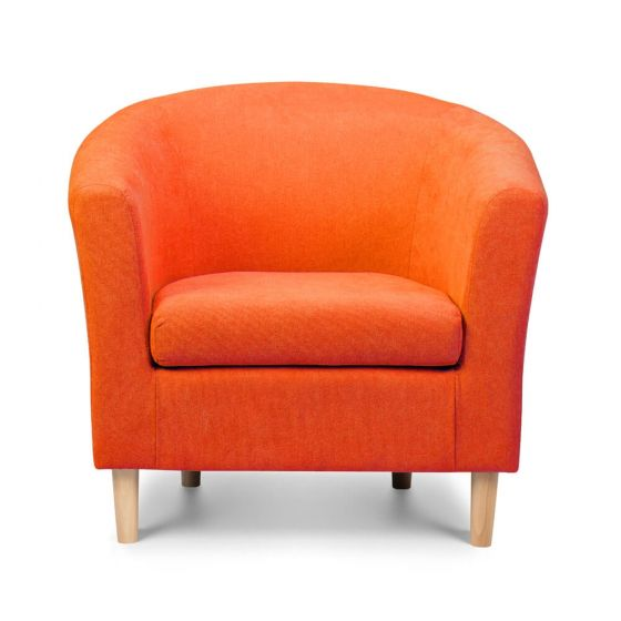 Orange Fabric Tub Chair Front