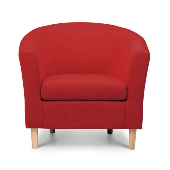 Red Fabric Tub Chair Front