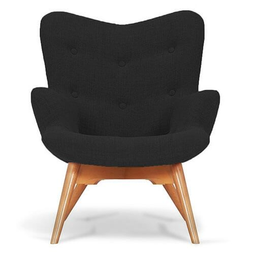 Artemis Black Fabric Angel Accent Chair