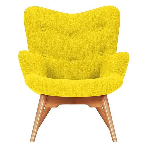 Yellow Fabric Angel Chair Front