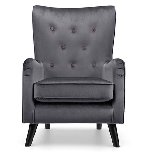 Fransen grey velvet accent chair