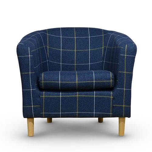 Morris Blue Tartan Tub Chair Front