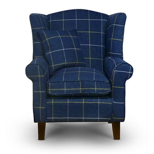 Morris Blue Tartan Fabric Wingback Chair