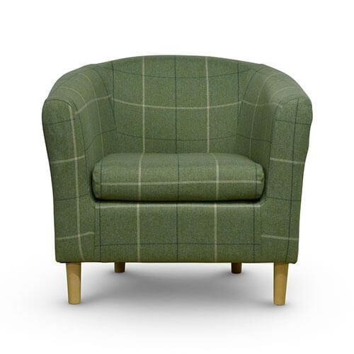 Morris Green Tartan Tub Chair Front