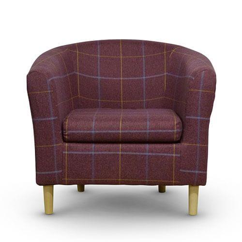 Morris Red Tartan Tub Chair Front
