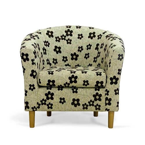 Brown Fabric Floral Tub Chair Woodstock Front