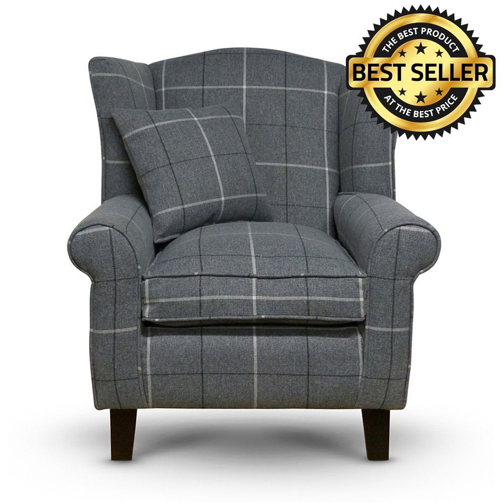 Morris Grey Tartan Fabric Wingback Chair